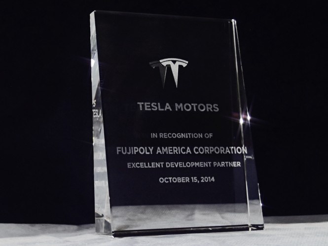 Fujipoly usa received an award at the tesla motors inc 39 s English motors inc
